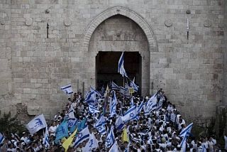 Foto: Een uiting van Israelliefde bij de Damascuspoort...